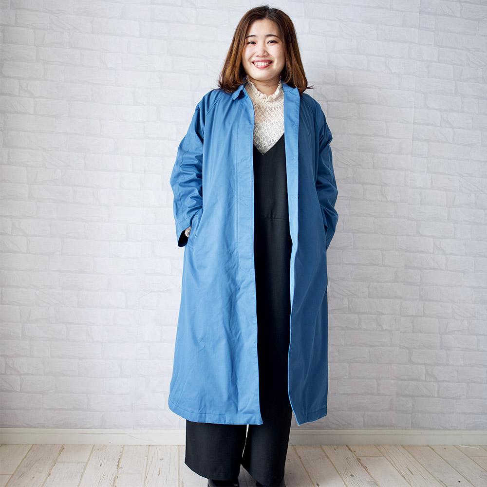 もりのがっこうプラスサイズ・スタンカラーコート(ブルー)