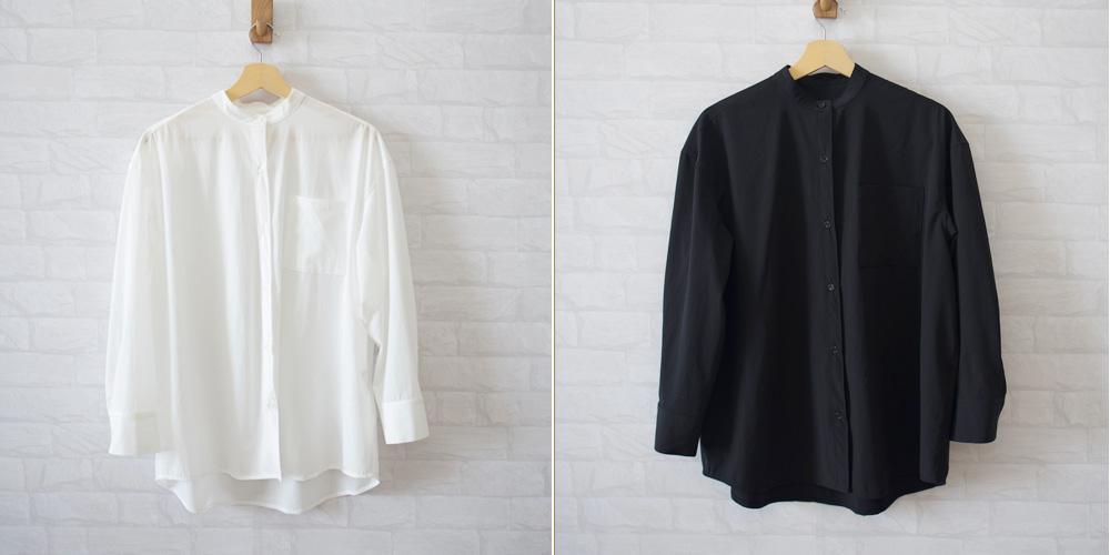 バンドカラーシャツ、白と黒の2色