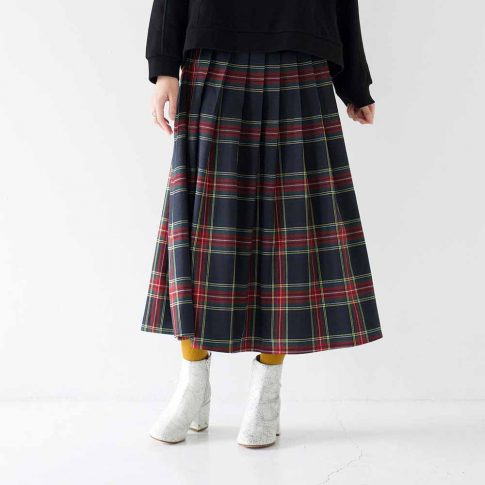 大人のタータンチェック柄ロングスカート